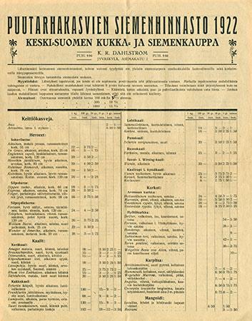 1900-luvun alkupuolella puutarhakasvien siemeniä myi muun muassa Keski-Suomen kukka- ja siemenkauppa sekä Maanviljelyskauppa Oy. Kuvat: Keski-Suomen museo.
